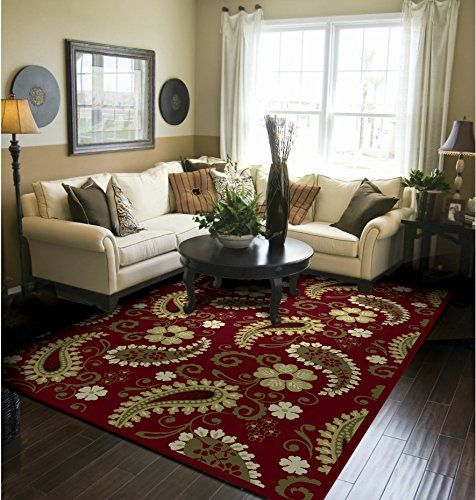Amazon.com   Premium Traditional Isfahan Large 8x11 Persian Area Rugs  Burgundy Traditional Rug 8x10