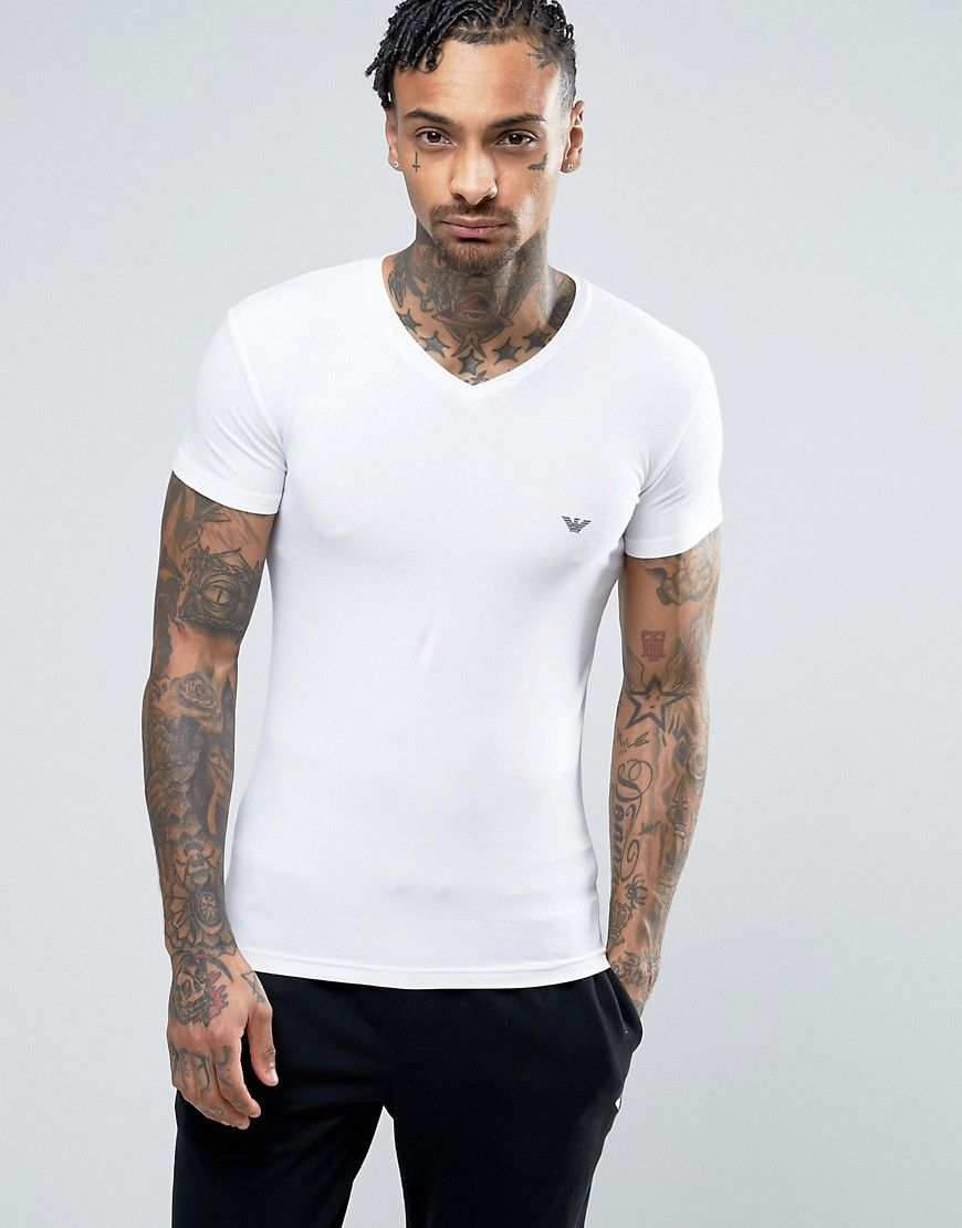 682fb6417b EMPORIO ARMANI LOGO V-NECK T-SHIRT IN MUSCLE FIT - WHITE ...