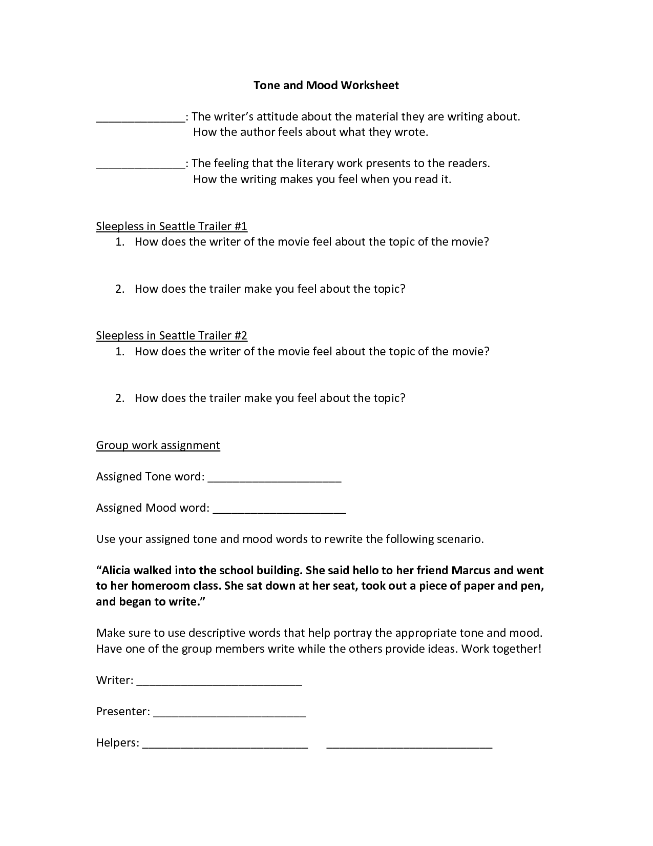 Tone And Mood Worksheet