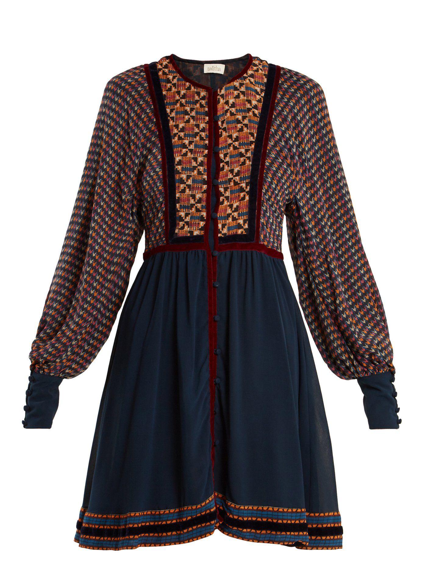 Athena Ashanti-print silk dress Talitha eTbwsan