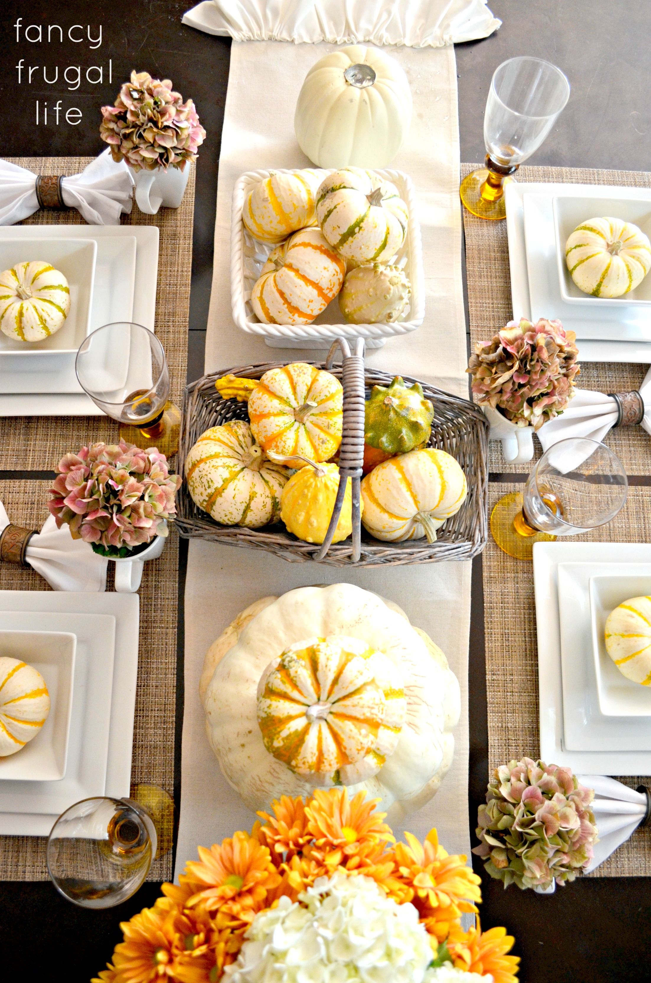 Fall Tablewhite Plates Pumpkin And Gourds In Baskets Cream Unique Fall Dining Room Table Centerpieces Design Ideas