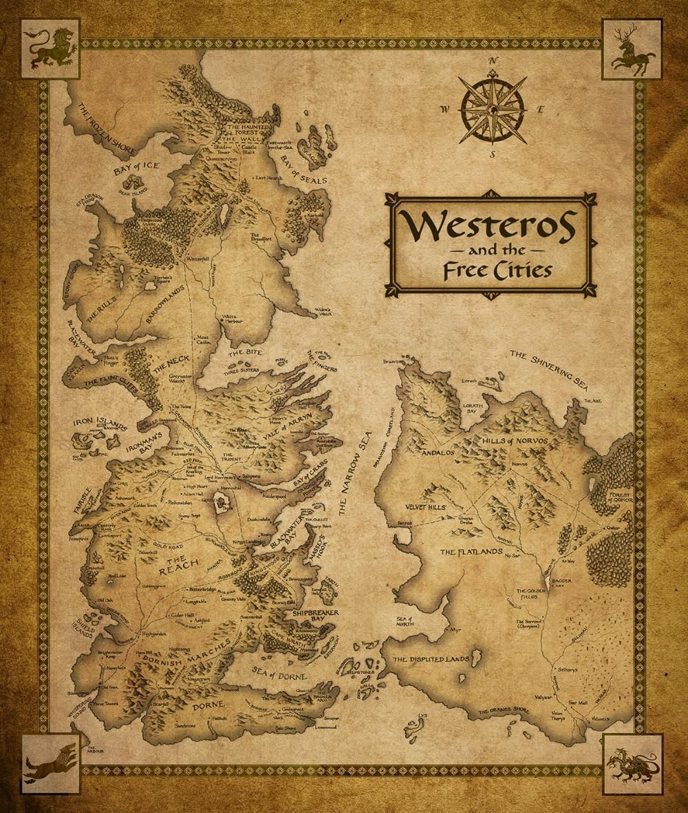 P1089 wall sticker poster Game Of Thrones map poster without frame ...