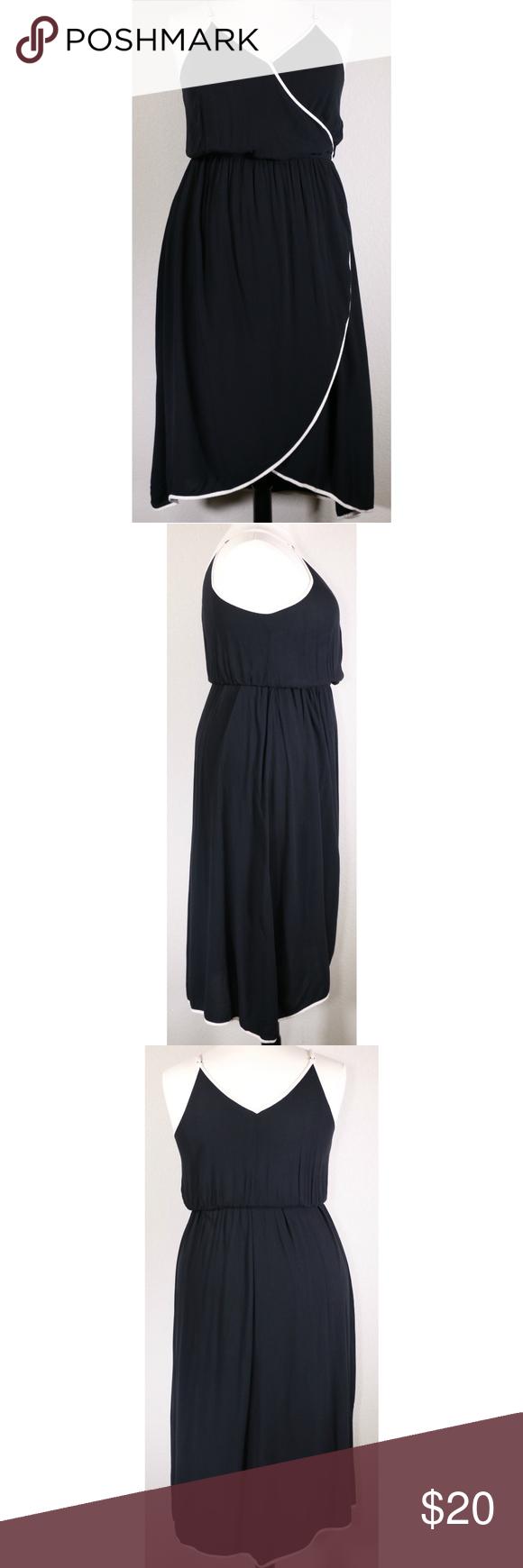 Who What Wear Black White Trim Wrap Dress Black Wrap Dress Wrap Dress Dresses [ 1740 x 580 Pixel ]