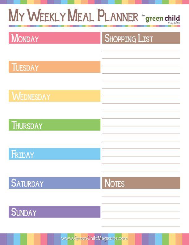 Weekly Meal Planner Free Printable  Free Printable Meal Planner