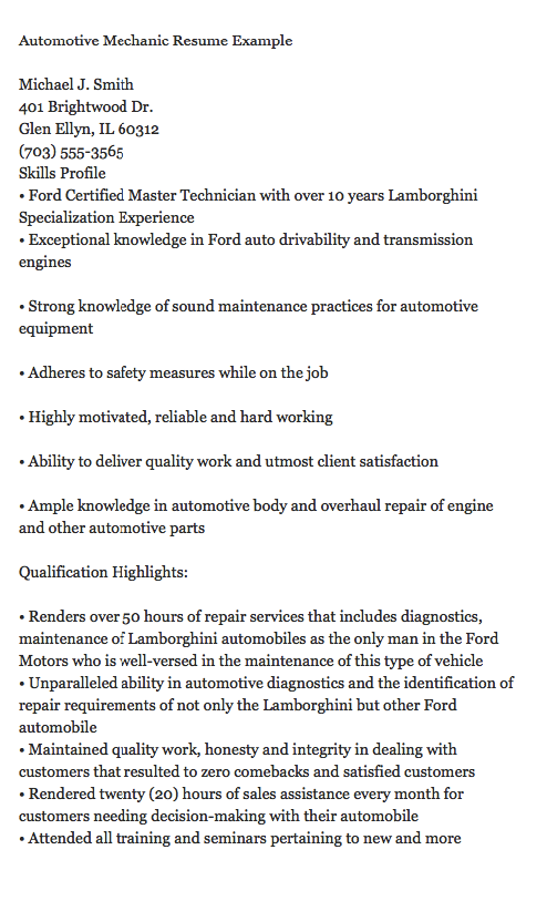 Automotive Mechanic Resume Example Michael J Smith 401 Brightwood Dr Glen Ellyn IL