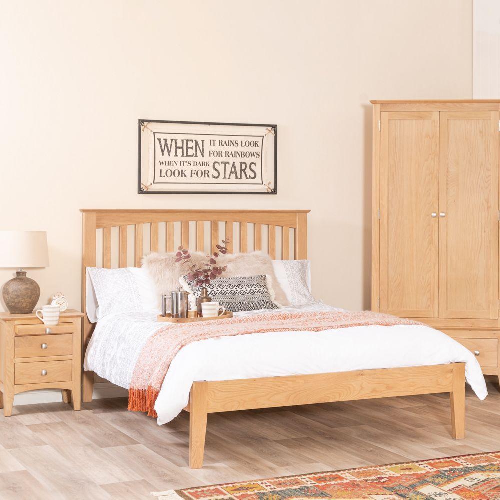 Malvern Shaker Oak 5ft King Size Slatted Bed Chilternoak A High