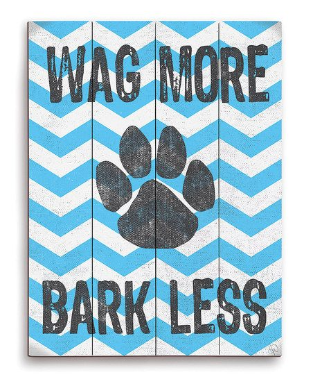 Blue Zigzag 'Wag More' Paw Wall Art