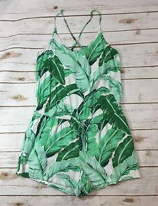 Old Navy Botannical Leaf Print Cami Romper Playsuit Green White Womens Medium    eBay