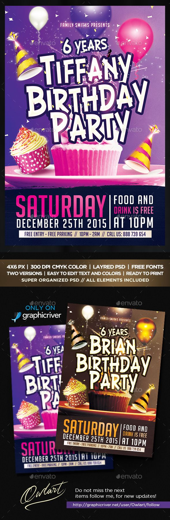 birthday party flyer template psd design download http