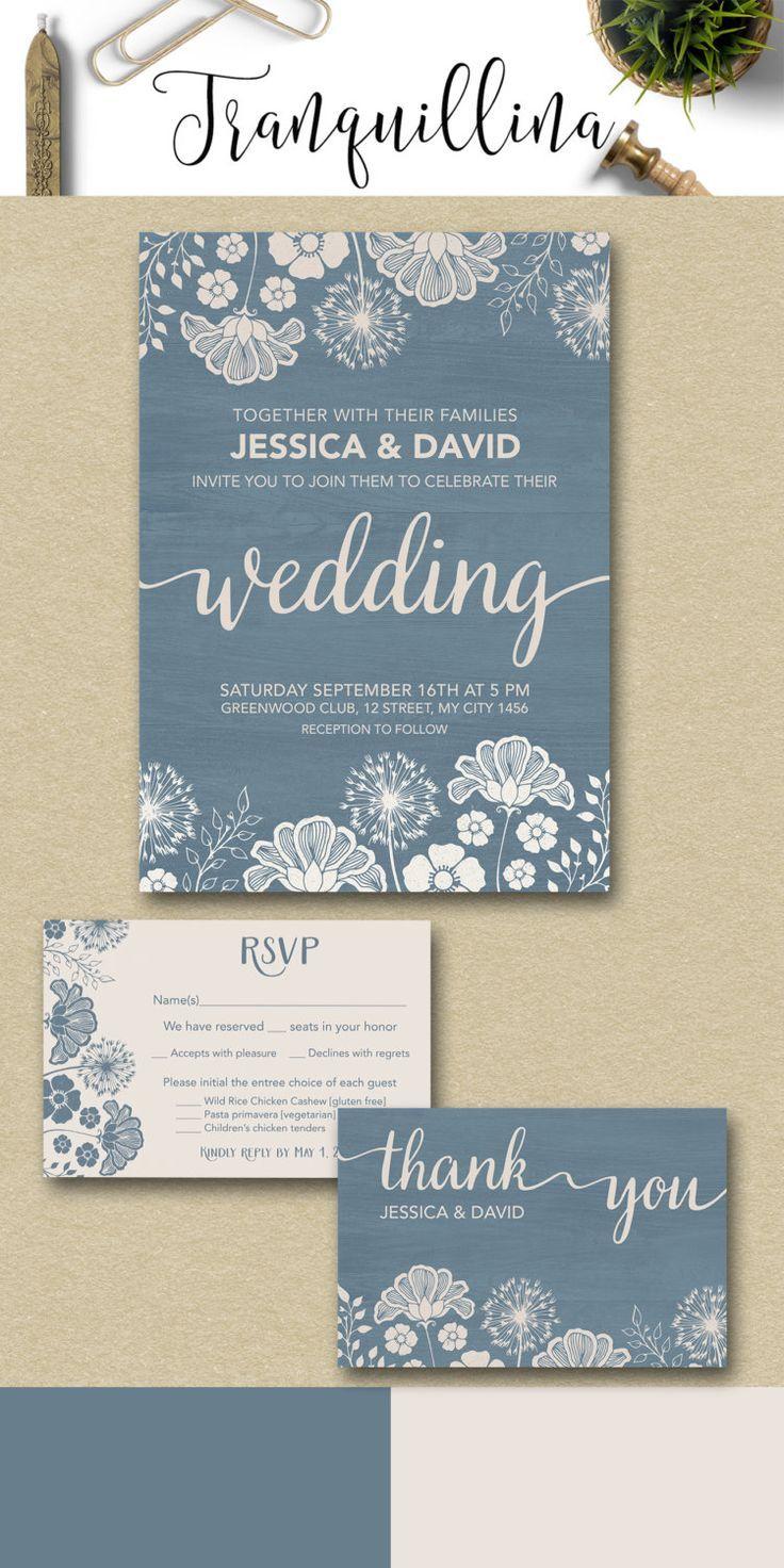 Modern Wedding Invitation Printable Rustic Dusty Blue Ivory Set Spring Floral