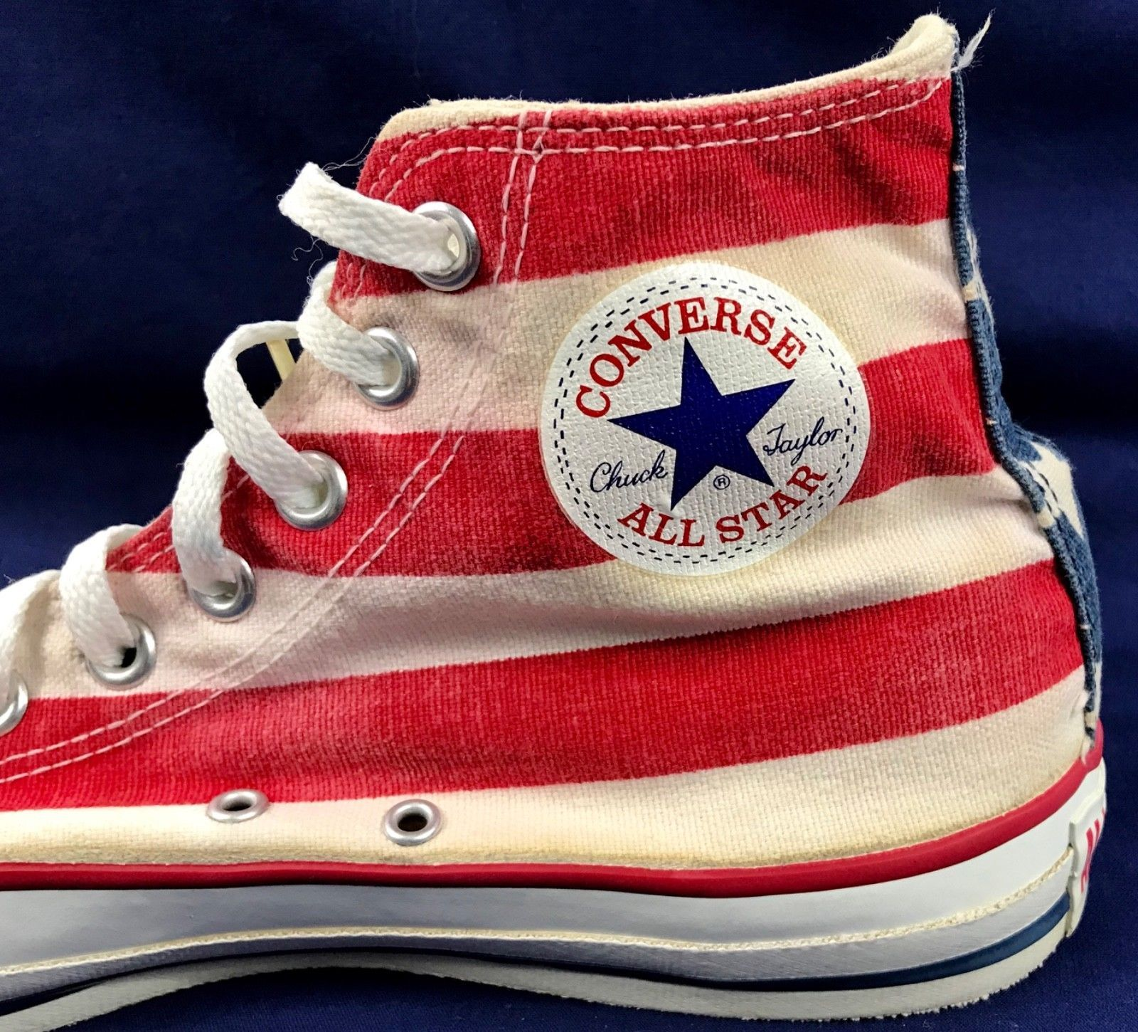 1060d7705862 Vtg Converse All Star Chuck Taylor Men s 9 American Flag Retro Hi Top Made  In USA