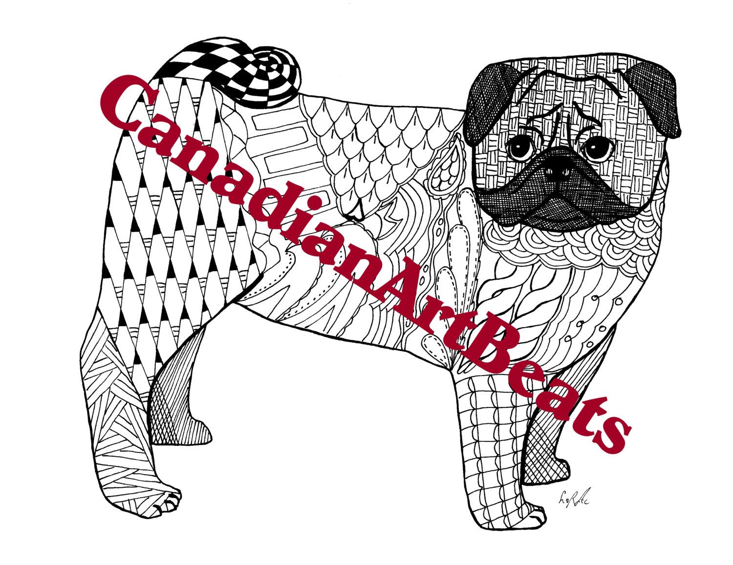 pug cute adorable pug dog coloring page printable downloadable art