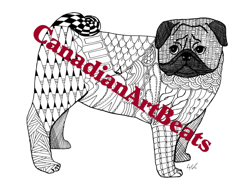Pug Cute Adorable Pug Dog Coloring Page Printable Downloadable Art ...