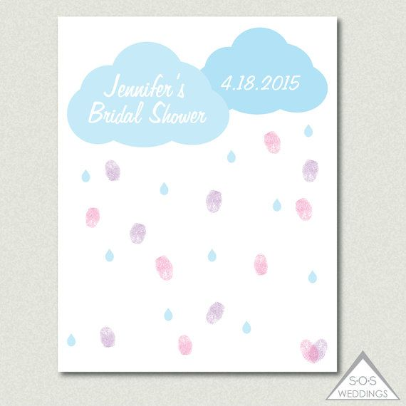 Rain Cloud Bridal Shower Guest Book, Baby Shower Thumbprint Guestbook,  Raindrops Fingerprint Sign In, Printable PDF, DIY Guestbook