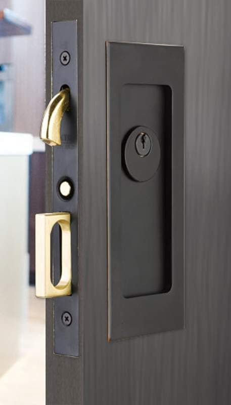 Emtek 2113 7 1 4 Height Keyed Entry Pocket Door Mortise Lock From The Modern Re Oil Rubbed Bronze Single Cylinder