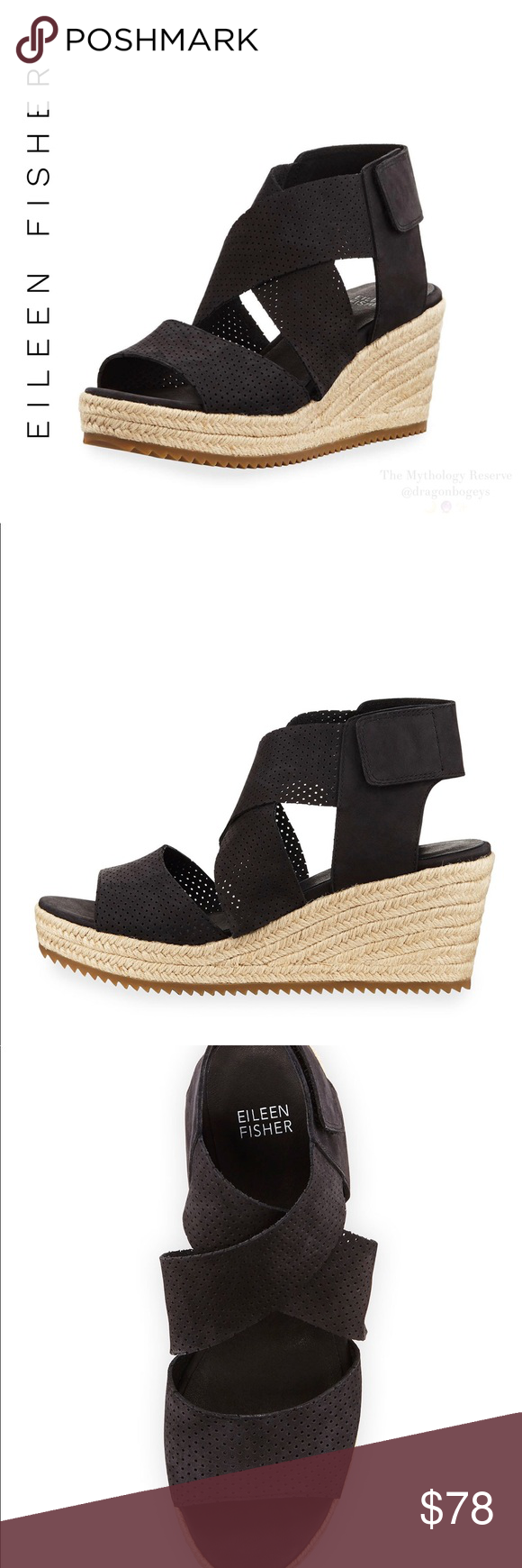 1547b555cfcf Eileen Fisher Willow Espadrille Sandals Eileen Fisher perforated nubuck  leather espadrille sandals with wide crisscrossing straps