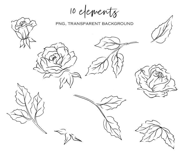 Watercolor Flowers Roses Clipart Set Floral Clipart Aquarelle Etsy Geschenke