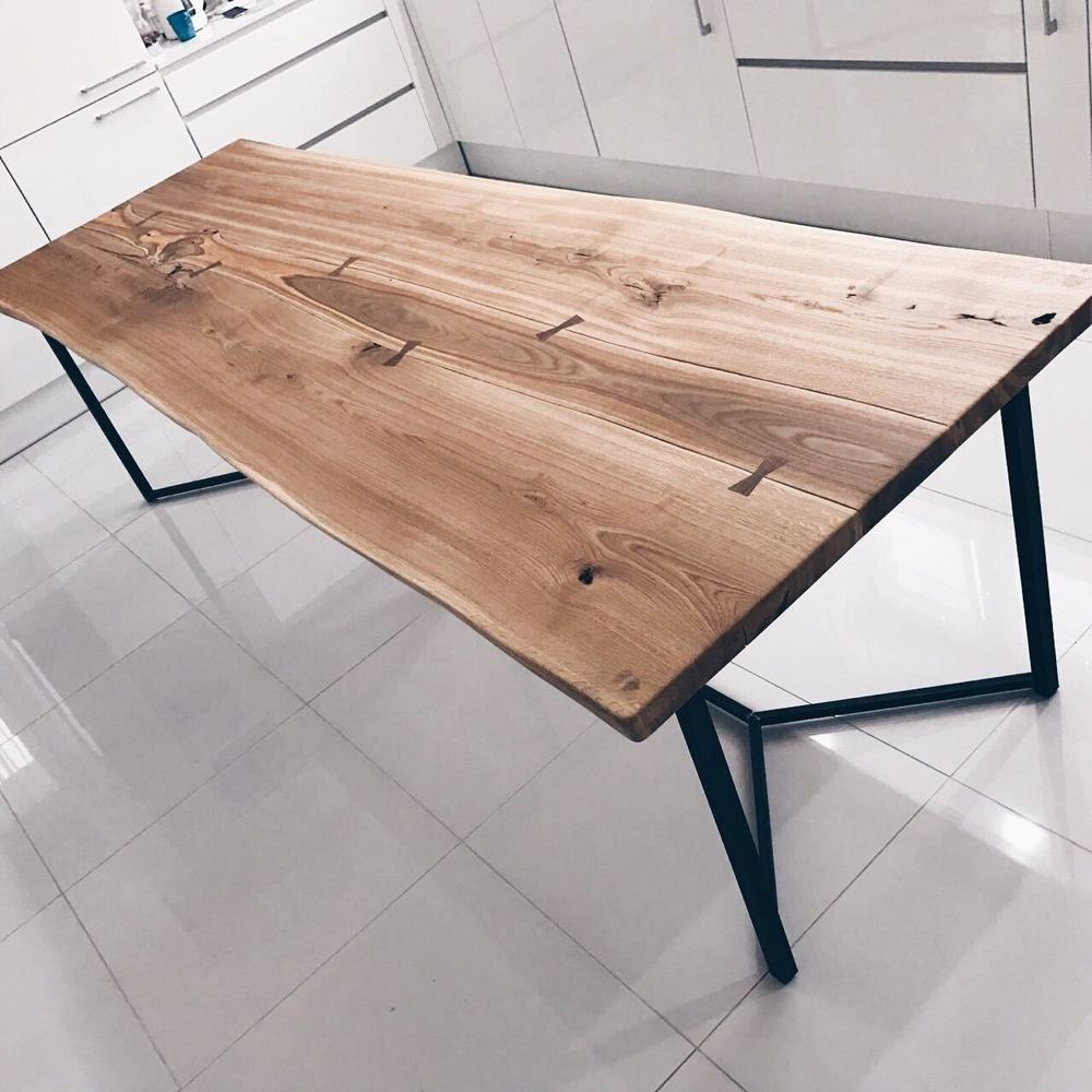 Solid Live Edge Oak Dining Table Wooden Rustic For Placing Against