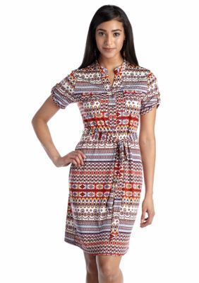 New Directions  Aztec Print Utility Dress