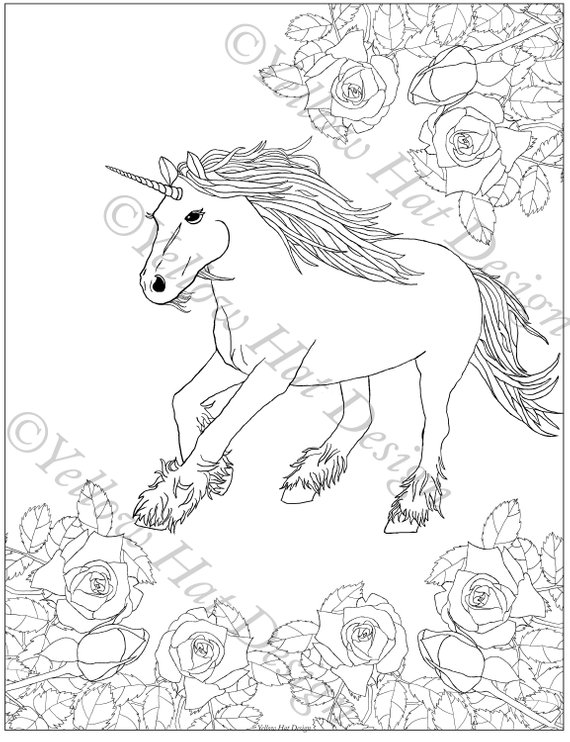 Unicorn Garden Coloring Page Unicorn Coloring Page Rose Coloring Page Adult Coloring Page Rose Unicorn Coloring Pages Garden Coloring Pages Coloring Pages