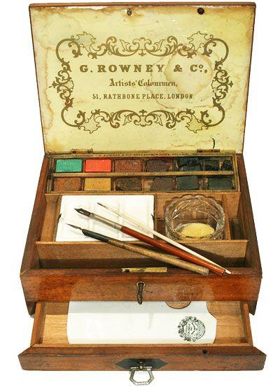 Rowney Mahogany Watercolor Box Circa 1870 Vintage Letter Box