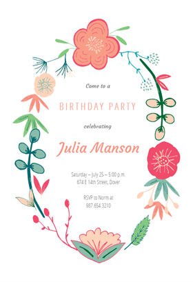 Spring Flowers Printable Invitation Template Customize Add Text And Photos Print Or For Free