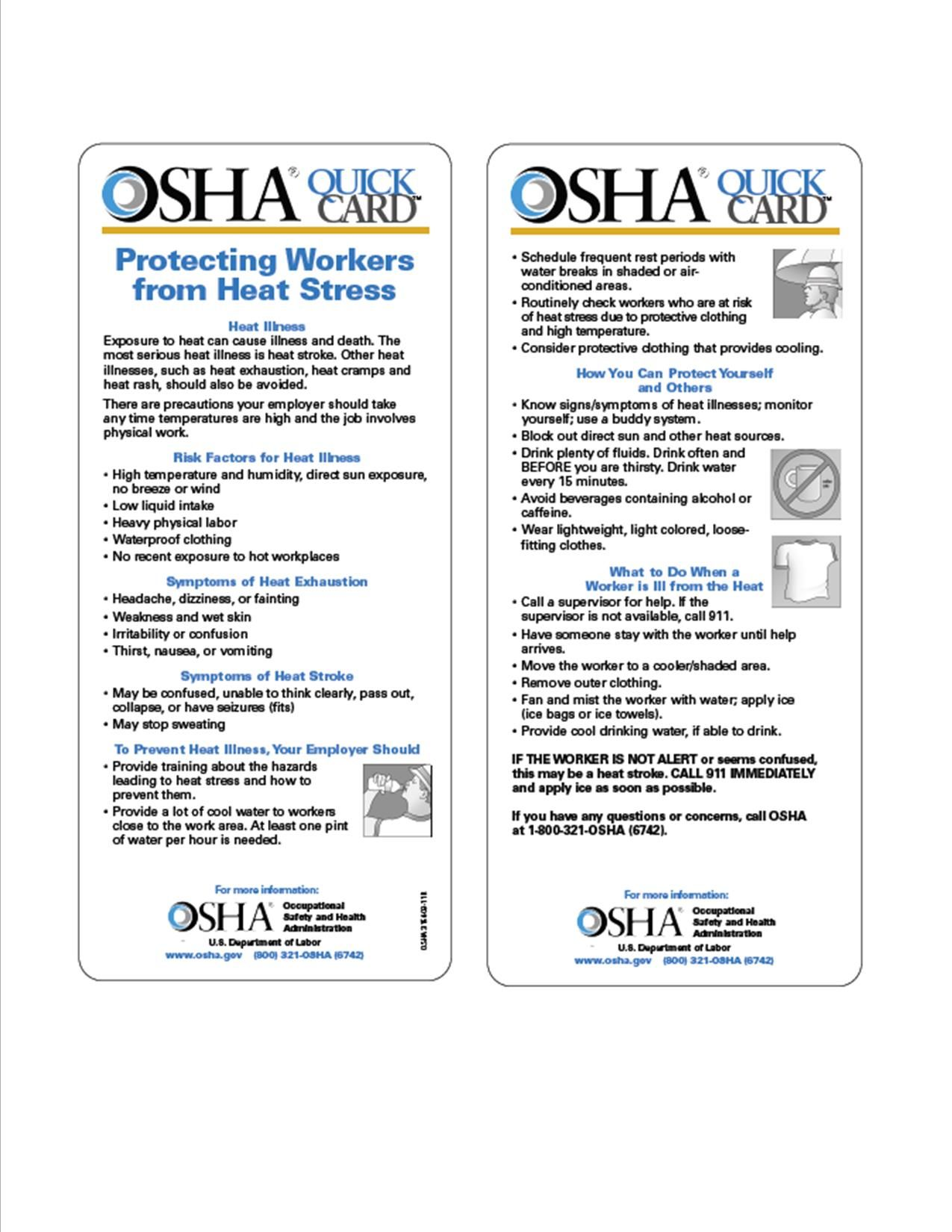 OSHA QuickCard Tips to keep safe while working out in