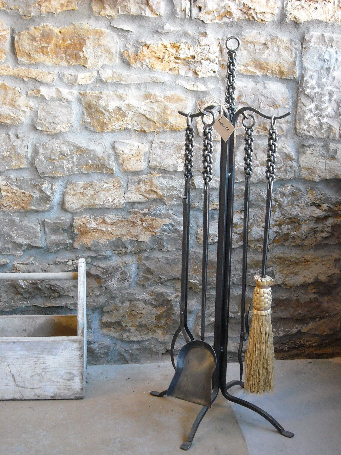 braided iron fireplace hearth tool set heirloom quality made by