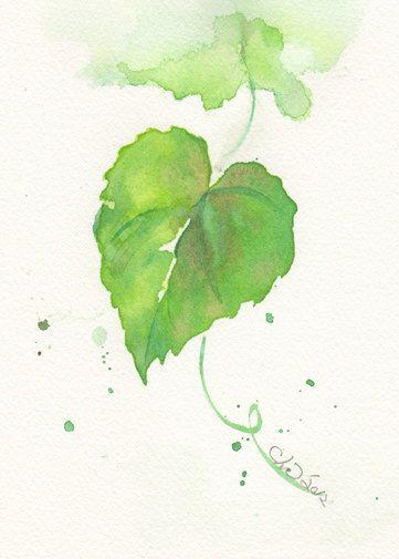Reserved For Jennifer Cline Leaf Green Leaf Painting Watercolor