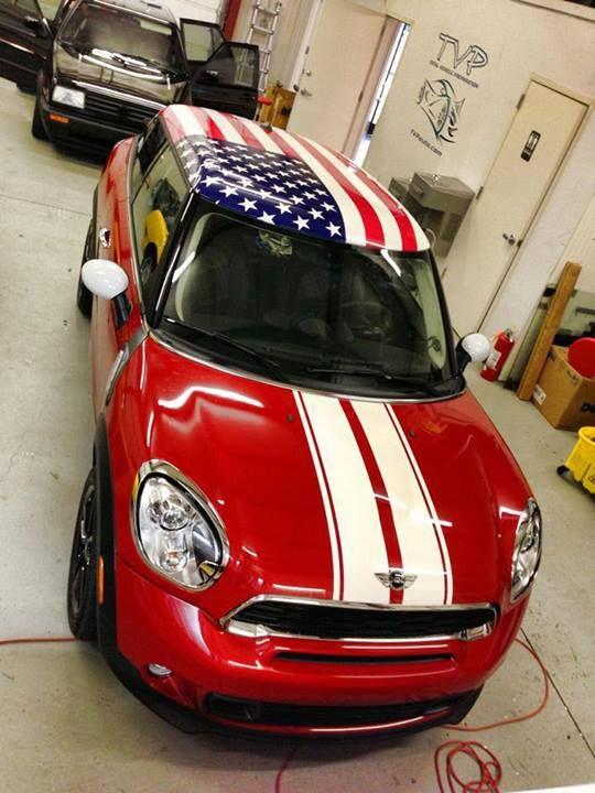 MY MINI & ME - Mini Cooper w/American Flag Decal on the Roof~