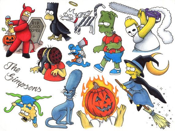 Simpsons Halloween Flash Temp Tattoo Bundle by