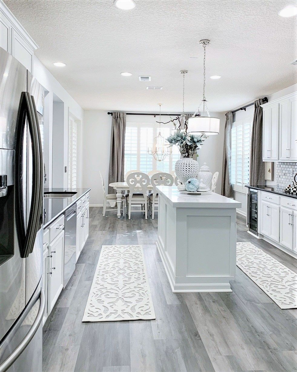 Finally The Time Has Come Our Kitchen Is Finally Completed This Tile Is Responsible For The Big Change For The In 2020 Grey Kitchen Floor Grey Flooring Floor Design