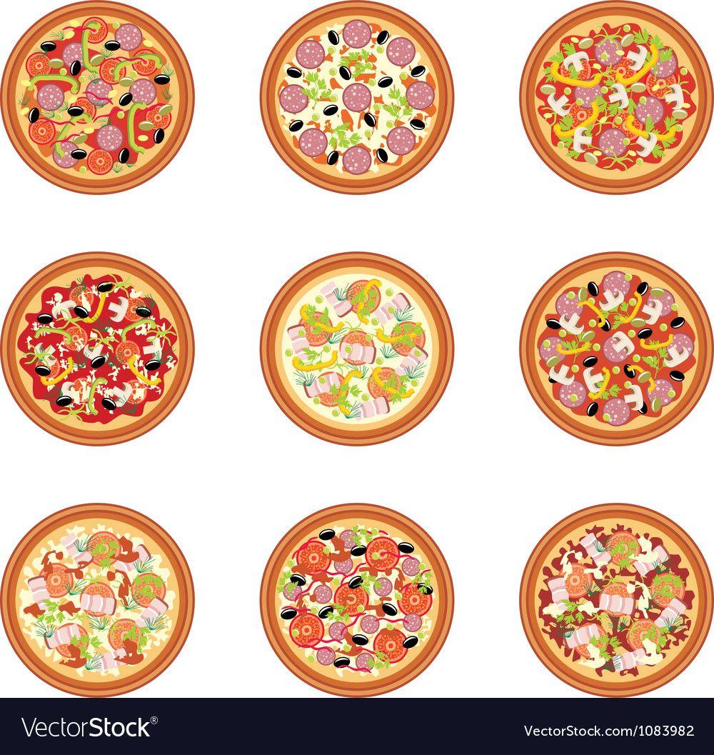 Pizza set vector image on Пицца