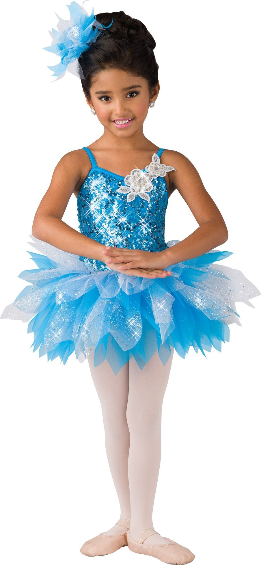 bce512eae1 Multi sequin mesh over turquoise lycra leotard. Attached white sparkle  tulle and turquoise tricot feathered tutu. Appliqué trim. Made in the USA.