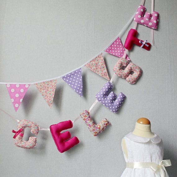 Fabric Letter Baby Name, Letters Banner, Kids Name Banners ...