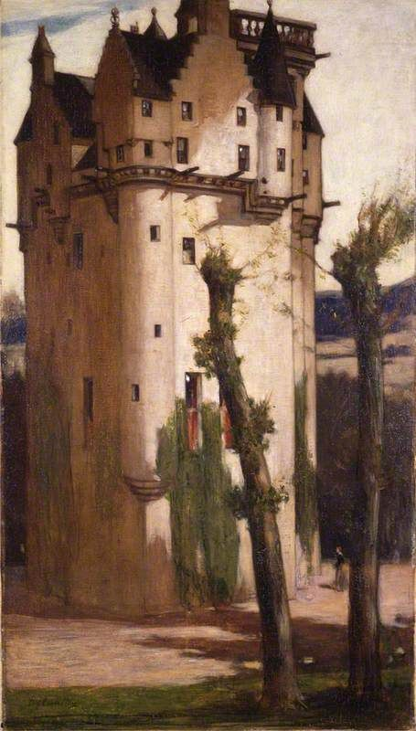 Craigievar Castle, Aberdeenshire, c.1909 by Sir D.Y.Cameron (Scottish 1865-1945)