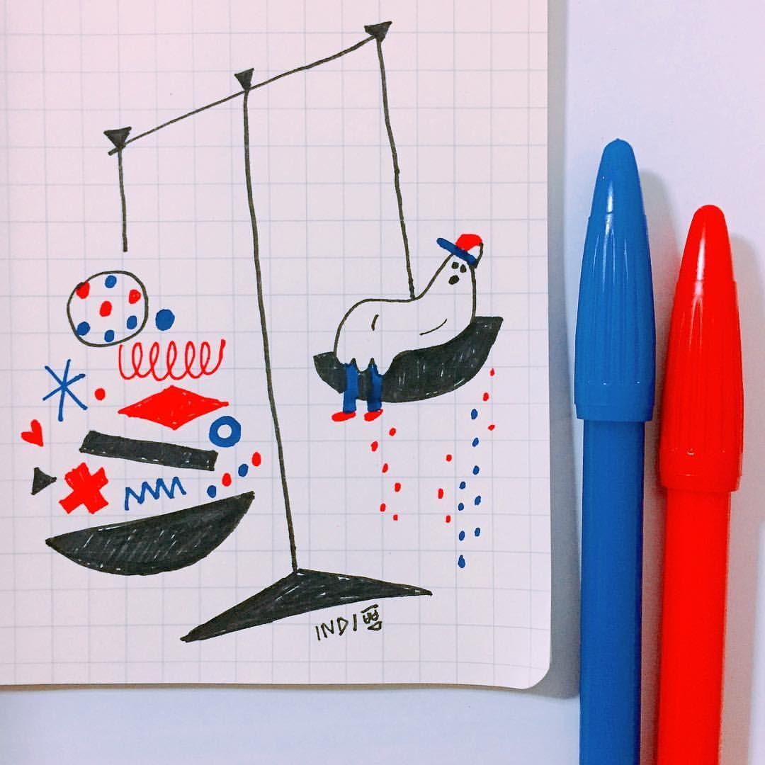 """좋아요 85개, 댓글 3개 - Instagram의 INDI(@indi_kippeum)님: """"🔵🤔🔴 #illustration #illust #art #artwork #doodle #그림 #일러스트 #낙서 #드로잉 #draw #drawing #doodle #graphic…"""""""