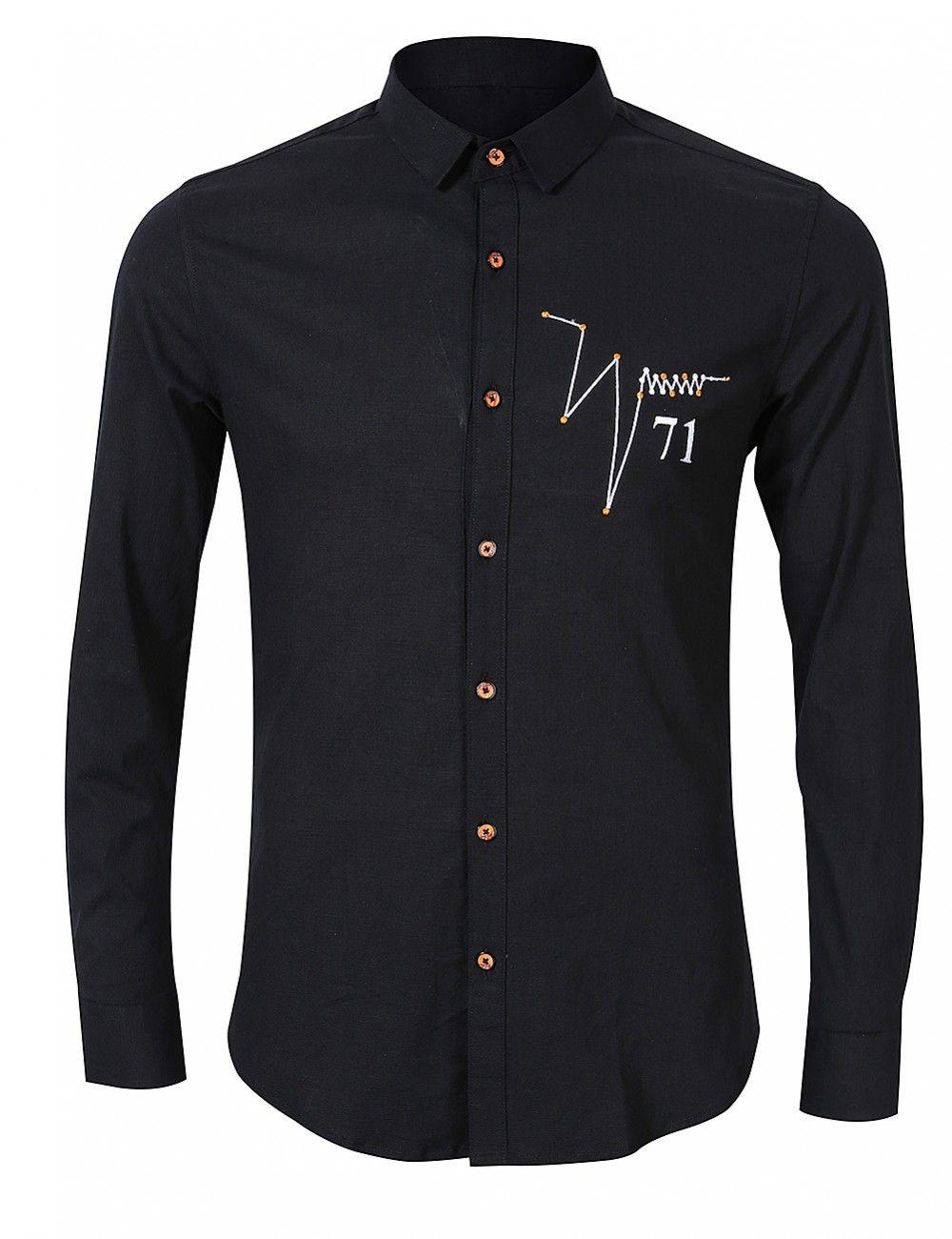 ec8b094ea26fd Men's Simple Solid Color Long Sleeve Shirt in 2019   men   Long ...