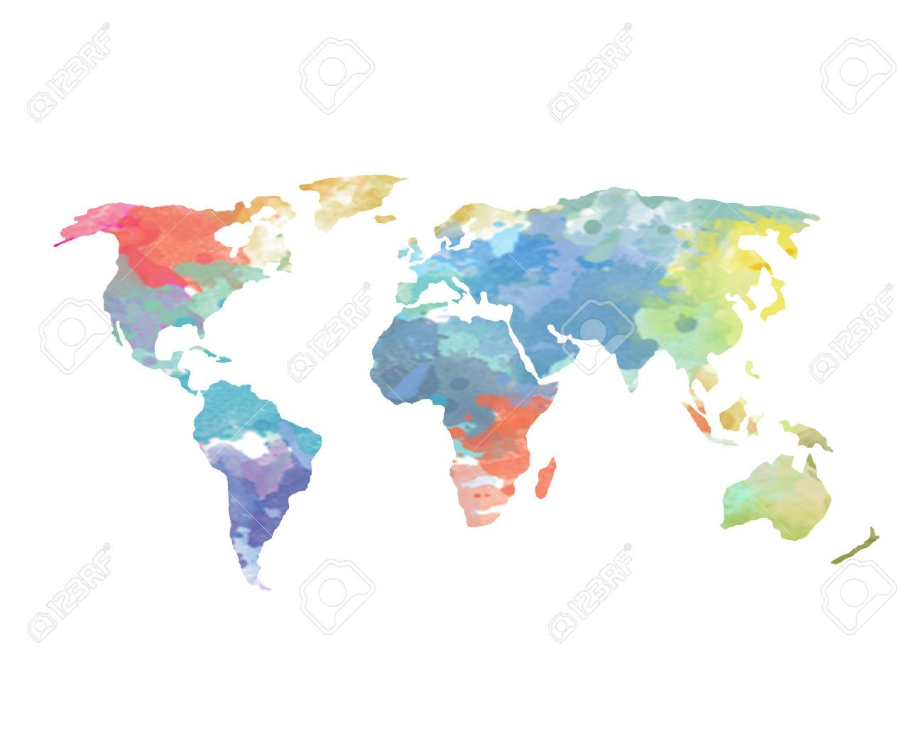 Watercolor world map poster continents ocean stock photo picture watercolor world map poster continents ocean gumiabroncs Gallery