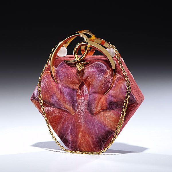 Vintage Lalique Handbag, A stunning vintage Lalique handbag in a floral motif, frosted bead accents and a gold filled shoulder chain. The piece was purchased in France from the Flagship store and comes with the original bag.
