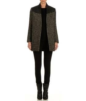 manteau en laine et cuir black maje femme boutique en ligne maje place des tendances mode. Black Bedroom Furniture Sets. Home Design Ideas