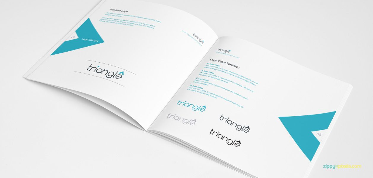 logo identity usage - triangles – clean brand book template, Presentation templates