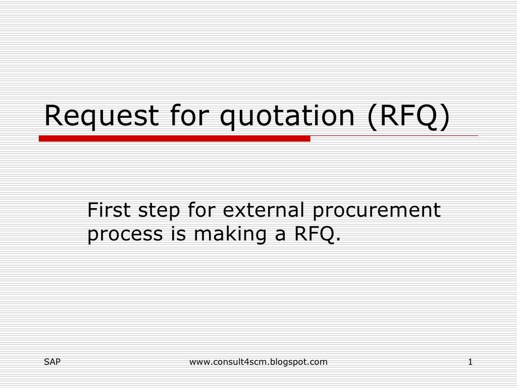 Request For Quotation (Rfq) by v r  sharma via slideshare