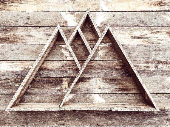 Mountain Range Shelf Geometric Wood Art Pallet Wood Shelf