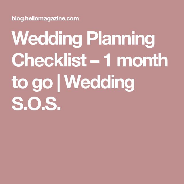 Wedding Planning Checklist   Month To Go  Wedding SOS