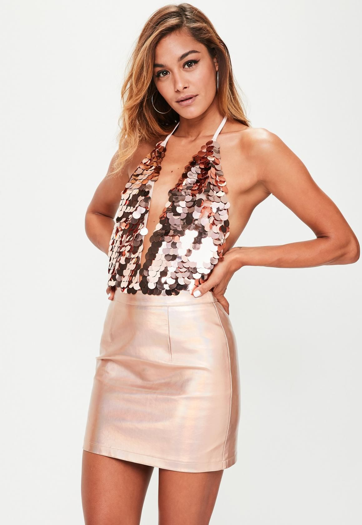 32666fbb4dcb Missguided - Rose Gold Mermaid Sequin Bodysuit