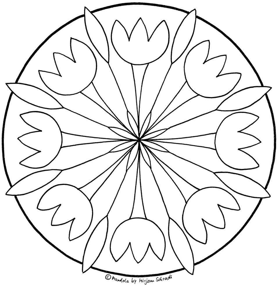 Fruhlings Mandala Fur Kinder Ab 6 Mit Tulpen Mandalamalspiel Mandalas Zum Ausdrucken Mandala Ausmalen Ausmalen
