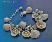 Seashell Bracelet, Pearl Bracelet, White Cluster Bracelet, Mermaid Bracelet, Beach Wedding Bracelet, Bride Bracelet, Bridesmaid Bracelet