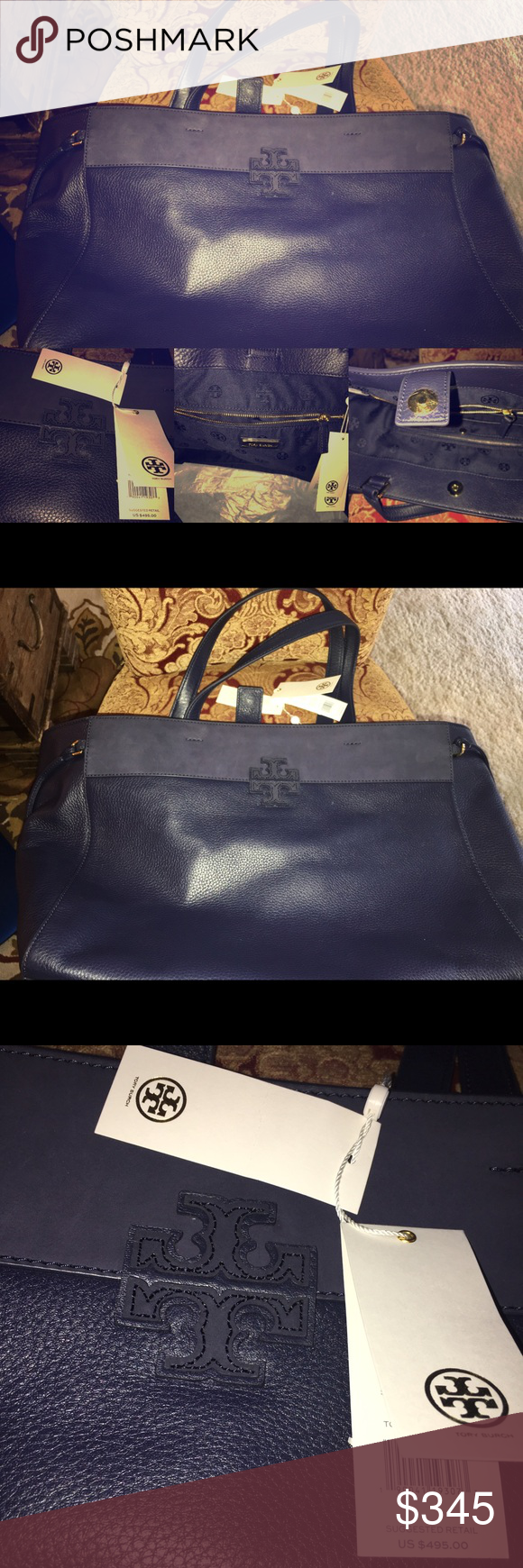 245dc8e74f8 SALE ⚡ ⚡️Huge Tory Burch Stacked-T Mixed 🦋🦋 🌈🌈🌈💯 Authentic Tory Burch  Stacked-T Mixed Material Tote / Tory Navy. Made of nubuck with unique ...