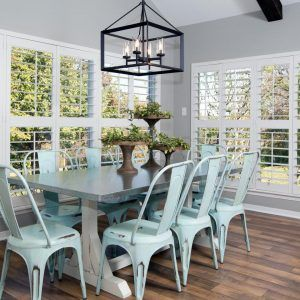 Farmhouse Table With Bench And Metal Chairs
